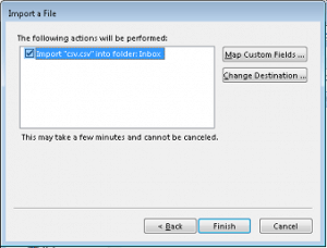 click Finish to start the import process