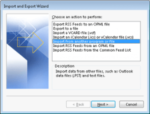 choose Import from another program or file option